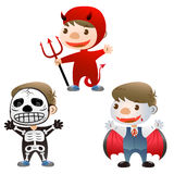Cute boy at halloween. Cute boy dress up to devil skull man and Vampire Royalty Free Stock Photography