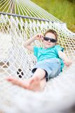 Cute boy in hammock Royalty Free Stock Photos