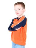 Cute boy with hands folded royalty free stock photography