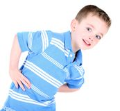 Cute Boy with Hands on Hips. Isolated on white Stock Photography