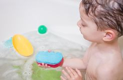 Cute boy happiness having bath Royalty Free Stock Photography