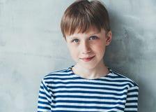 Cute boy happy beautiful closeup portrait stripes Royalty Free Stock Photography