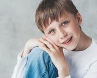 Cute boy happy beautiful closeup portrait studio Royalty Free Stock Image