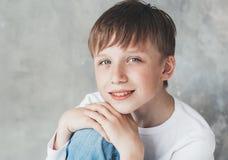 Cute boy happy beautiful closeup portrait studio Stock Photos