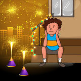 Cute boy for Happy Diwali celebration. Cute little boy enjoying firecrackers on creative shiny urban city background for Indian Festival of Lights, Happy Diwali Royalty Free Stock Photos