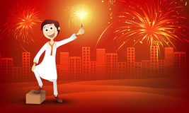 Cute boy for Happy Diwali celebration. Cute boy in traditional dress, playing with firecracker on stylish red urban city background for Indian Festival of Royalty Free Stock Photography