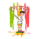 Cute boy for Happy Holi festival celebration. Royalty Free Stock Photography