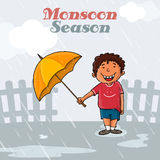 Cute boy for Happy Monsoon Season. Royalty Free Stock Photo
