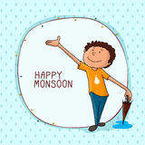 Cute boy for Happy Monsoon Season. Stock Photo