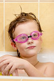 Cute boy have fun in the bathroom. Royalty Free Stock Photos