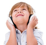 Cute boy with headphones Stock Image