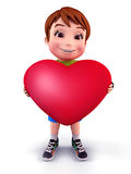 Cute boy with heart shape balloon Stock Photos
