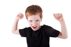 Cute boy with his arms raised Royalty Free Stock Image