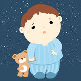 Cute boy and his doll sleepless  Royalty Free Stock Photo