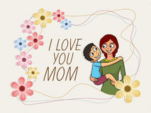 Cute boy with his mother for Happy Mothers Day celebration. Stock Image