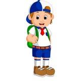 Cute boy on his way to school stock illustration
