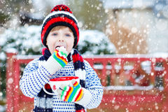 Cute boy holding big cup  and hot chocolate drink and marshmallo Royalty Free Stock Photos