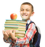 Cute boy is holding book Royalty Free Stock Image