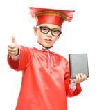 Cute boy is holding book Royalty Free Stock Photography