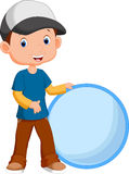 Cute boy holding a circle Stock Image
