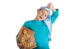 Cute boy holding clock isolated on white Stock Photo