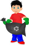 Cute boy holding garbage bag. Vector illustration of cute boy holding garbage bag Royalty Free Stock Photography