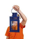 Cute boy holding a hand lantern Stock Photography