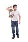 Cute boy holding a hand lantern Royalty Free Stock Photos