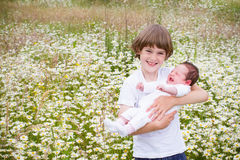 Cute boy holding his baby sister in a daisy field Royalty Free Stock Photo