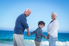 Cute boy holding his grandparents hands Royalty Free Stock Photo