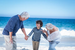 Cute boy holding his grandparents hands Royalty Free Stock Image
