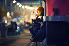 Cute boy, holding lantern outdoor Royalty Free Stock Image