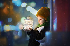 Cute boy, holding lantern outdoor. Wintertime Royalty Free Stock Photography