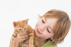 Cute boy holding while looking at kitten Stock Photos