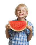 Cute boy holding slice of water melon Royalty Free Stock Images