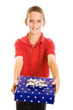 Cute Boy with Holiday Gift royalty free stock photography