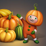 Cute boy in holiday pumpkin costume showing pumpkins pile, seasonal harvest illustration Royalty Free Stock Photos