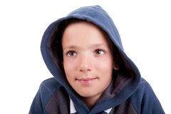 Cute boy with hood smiling Royalty Free Stock Photography