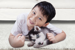Cute boy and husky puppy at home Royalty Free Stock Photo