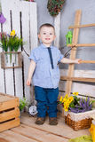 Cute boy in jeans suit royalty free stock images