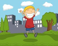 Cute boy jump in the park with city background cartoon. Full color Stock Photo
