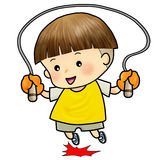 Cute boy jump with skipping rope Stock Photos