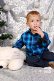 Cute boy kid christmas Stock Image