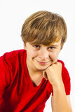 Cute boy leans on his arm Royalty Free Stock Photo