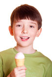 Cute boy licking ice cream Stock Photo