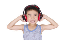 Cute boy listen to music. On white background Stock Photo