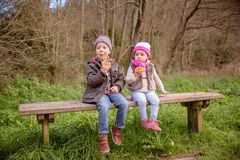 Cute boy and little girl eating muffins sitting on Stock Photos
