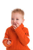 Cute boy a little shy Royalty Free Stock Photo