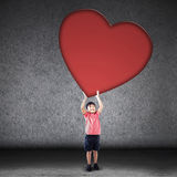 Cute boy with love cutout Stock Photos