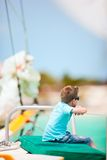 Cute boy on luxury yacht Stock Photography